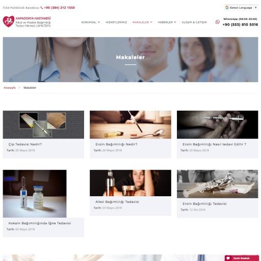 Kapadokya Hastanesi Amatem Polikliniği Websitesi