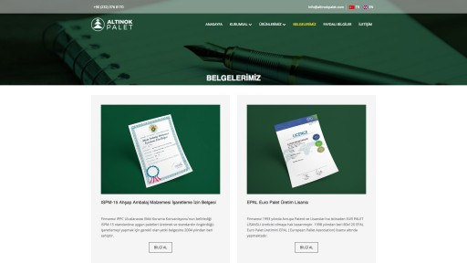 Altınok Palet Kurumsal Websitesi